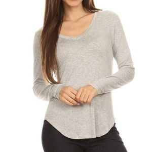 Tops - Heather Gray Rayon Blend Solid V Neck Tee Top